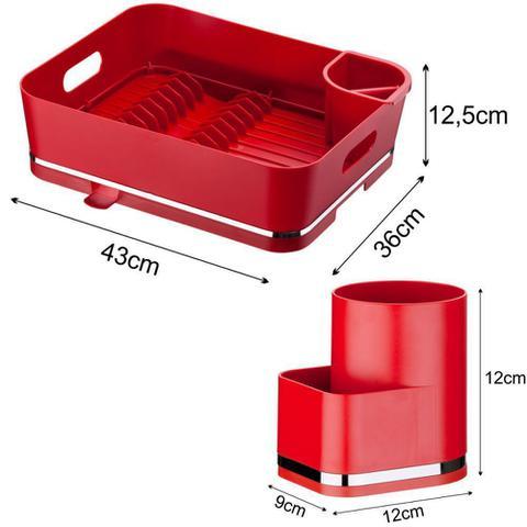 Imagem de Kit Escorredor de Louça 13 Pratos C/ Suporte Detergente e Esponja