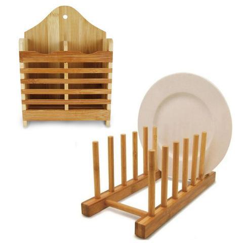 Imagem de Kit escorredor de louças copos pratos talheres bambu promo