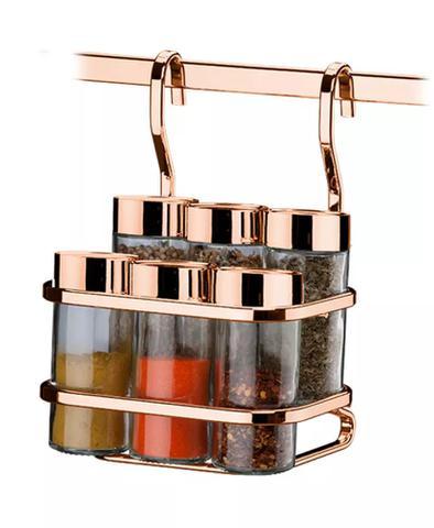 Imagem de Kit Escorredor De Louças + Porta Papel Toalha + Porta Temperos + Lixeira + 2 Barras 30cm Rose Gold