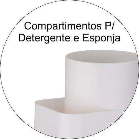 Imagem de Kit Escorredor Talheres + Porta Detergente Pia Branco Future