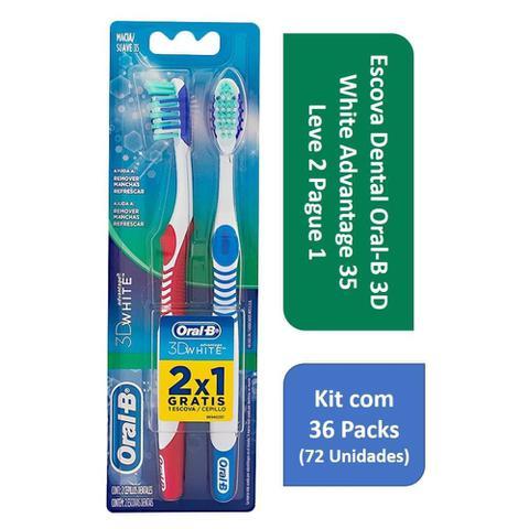 Imagem de Kit Escova Dental Oral-B 3D White Advantage 35 L2P1 com 36 Packs
