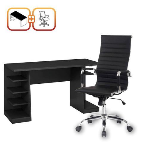 Imagem de Kit Escritorio Completo com Mesa Escrivaninha 6 prateleiras e Cadeira Presidente Boston Preta