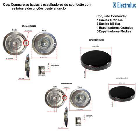 Imagem de Kit espalhadores + bacias p/ fogões electrolux 4 bocas 52 smc