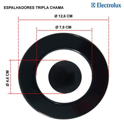 Imagem de Kit espalhadores + bacias p/ fogões tripla chama electrolux 5 bocas 76 xge