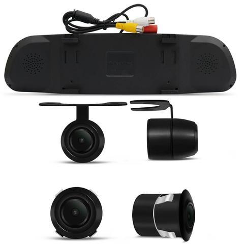 Imagem de Kit Espelho Retrovisor Interno Com Câmera de Ré Ford Ecosport 03 a 19 Preta Tela LCD 4,3 Polegadas