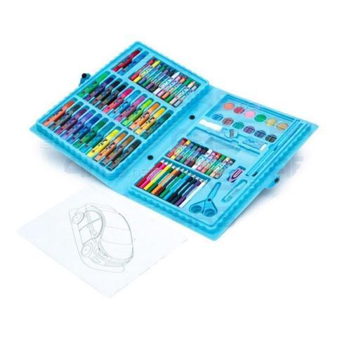Imagem de Kit estojo para desenhos Canetinhas e Lápis 86 Peças Azul