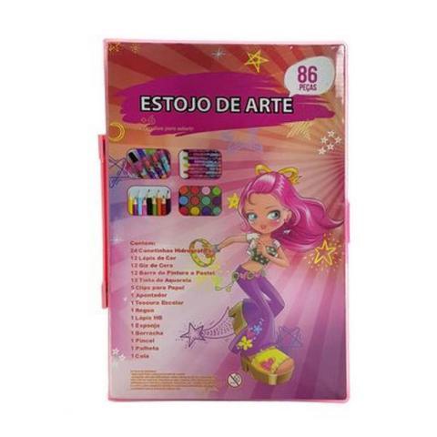Imagem de Kit estojo para desenhos com Canetinhas e Lápis 86 Peças Rosa