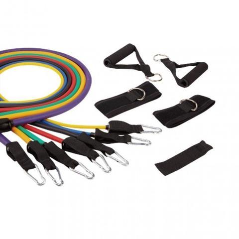 Imagem de Kit Extensor com 7 Elasticos + 2 Pegadores + 2 Fitas Tornozelos + Ancorador Porta  Liveup