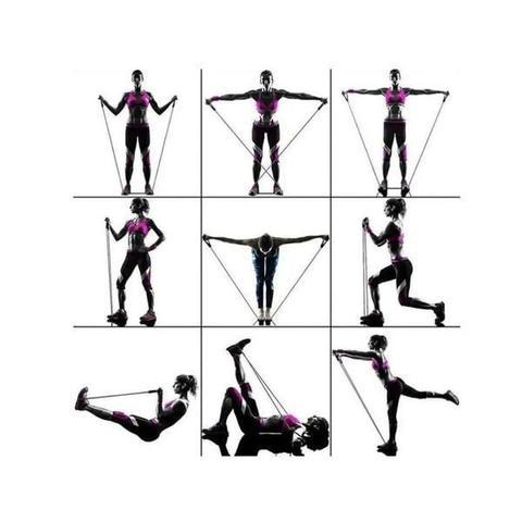 Imagem de Kit Extensor Elastico 1 Via Forte E Bola Suiça 65cm Pilates