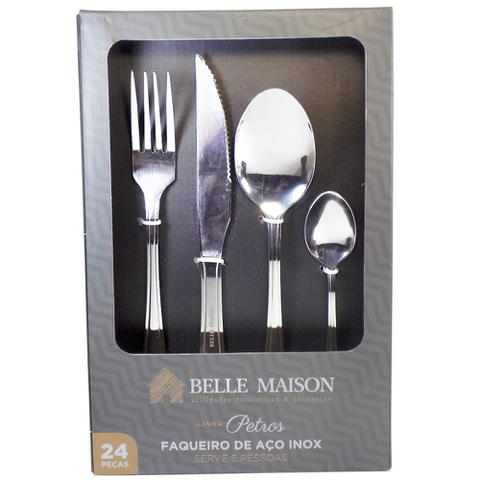 Imagem de Kit Faqueiro 24 peças de 3mm Aço Inox  Linha Petros  Belle Maison
