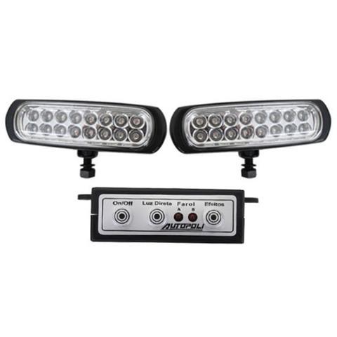 Imagem de Kit Farol Auxiliar Estrobo Autopoli Retangular Capa Preta 12V / 24V 16 LEDs - 9 Efeitos