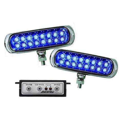Imagem de Kit Farol Auxiliar Estrobo Azul Autopoli Retangular Capa cromada 12V / 24V 16 LEDs - 9 Efeitos