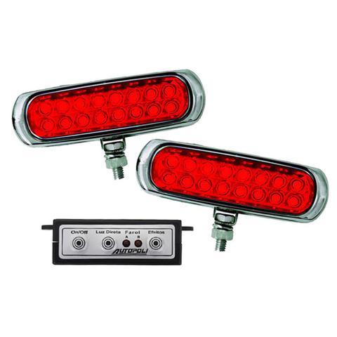 Imagem de Kit Farol Auxiliar Estrobo Vermelho Autopoli Retangular Capa cromada 12V / 24V 16 LEDs - 9 Efeitos