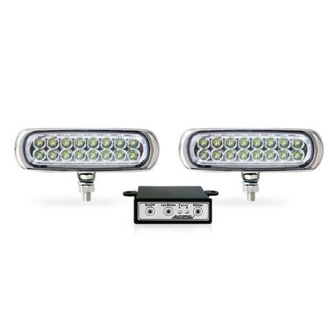 Imagem de Kit Farol Auxiliar Slim LED 6,4W 960 lumens Bi Volt Com Módulo de Controle Corpo PRETO Luz BRA