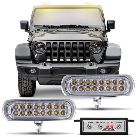 Imagem de Kit Farol de Milha Auxiliar 3 em 1 Slim Universal 16 LEDs 12V Luz Amarela Original Autopoli