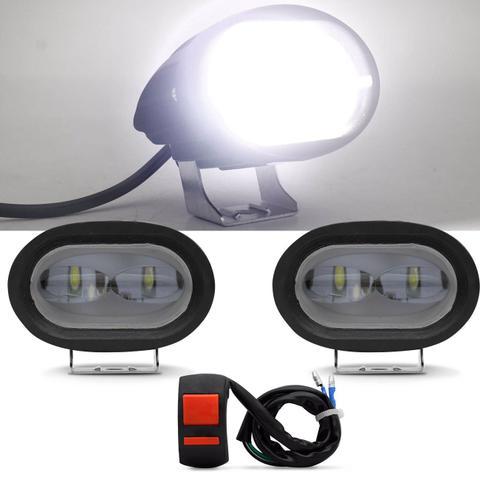 Imagem de Kit Farol De Milha Moto LED Universal Retangular Auxiliar De Neblina 80W 12V Com Botão Liga Desliga