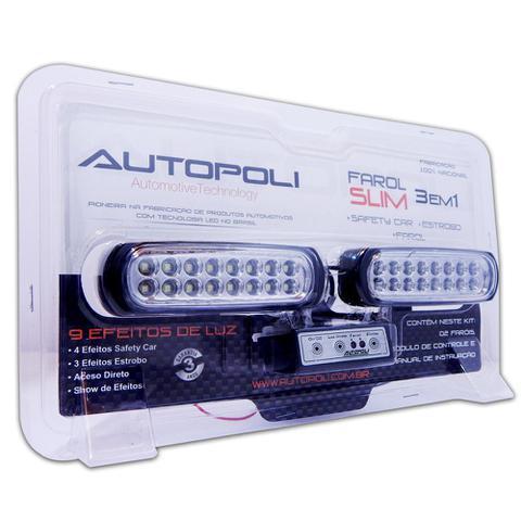 Imagem de Kit Farol Estrobo Azul Autopoli Retangular Capa preta 12V / 24V 16 LEDs - 9 Efeitos