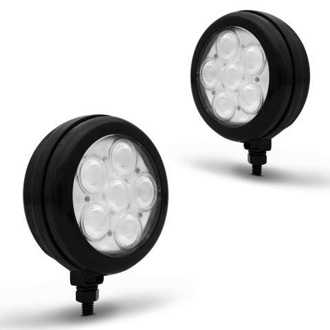 Imagem de Kit Farol Milha Auxiliar Redondo 3 em 1 Slim Universal 6 LEDs 12V 24V Azul com Módulo de Controle