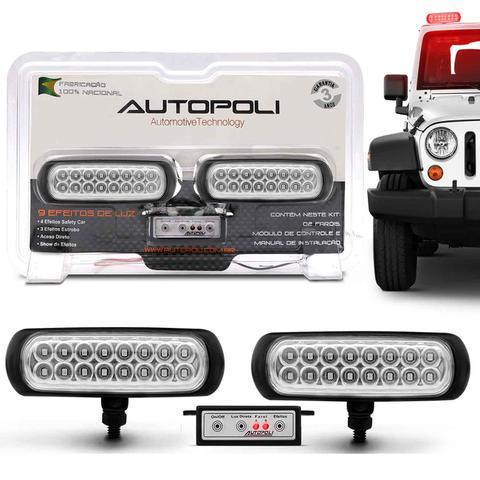 Imagem de Kit Farol Milha Auxiliar Retangular 3 em 1 Slim Universal 16 LEDs 12V 24V Vermelho com Controle