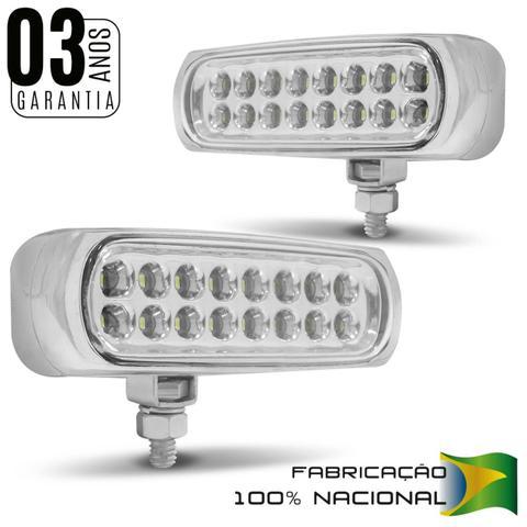Imagem de Kit Farol Milha Auxiliar Slim Universal 16 LEDs 12V Luz Azul 8 Efeitos Autopoli