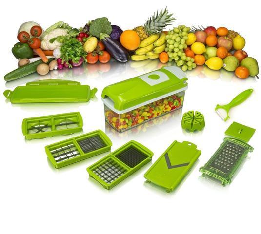 Imagem de Kit Fatiador Cortador De Legumes Plástico E Inox