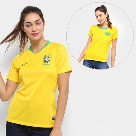 Imagem de Kit Feminino Torcida Brasil - Camisa Nike Seleção Brasil I 2018 s/nº + Camisa Torcedor