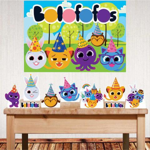 Imagem de Kit festa Bolofofos com displays de mesa e painel decorativo