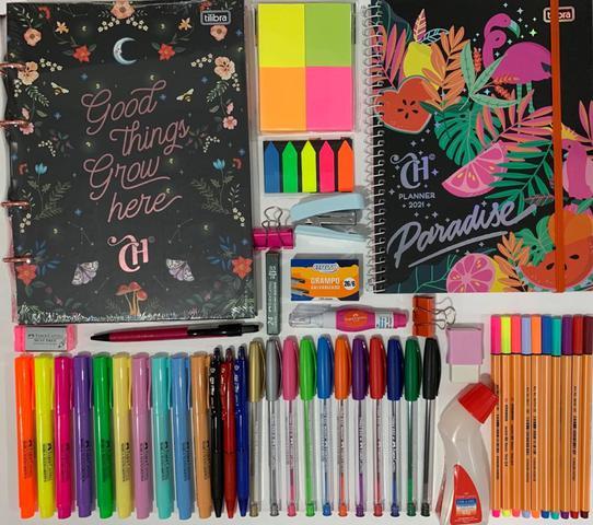 Imagem de Kit fichário colegial pequeno capricho+planner+canetas e acessórios TILIBRA