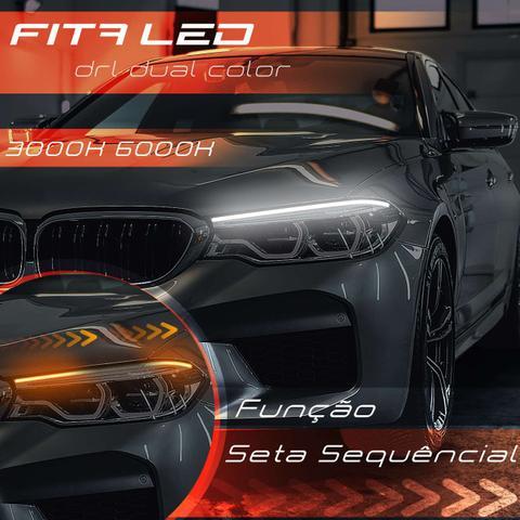 Imagem de Kit Fita de LED DRL Dual Color Universal 3000K 6000K 12V 6,8W 30cm Farol com Função Seta Sequencial
