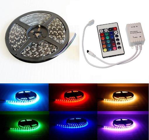 Imagem de Kit Fita LED Colorida / Full RGB Modelo 5050 5m Com Fonte e Controle Remoto