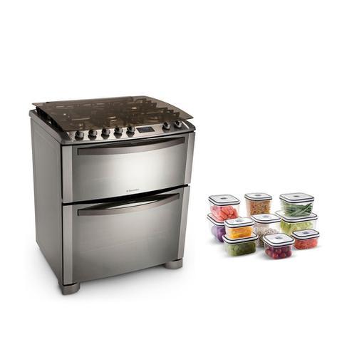 Imagem de Kit fogão celebrate premium de piso duplo forno 5 bocas (76dfx) +  kit potes 10 unidades