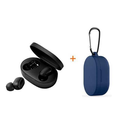 Imagem de Kit fone de ouvido bluetooth sem fio earbuds basics xiaomi preto + capa protetora de silicone com mosquetão azul