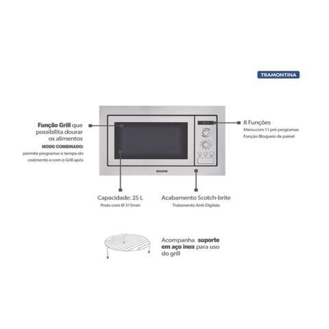 Imagem de Kit Forno Elétrico de Embutir 69 L + Micro-ondas de Embutir 25 L em Aço Inox 220 V Tramontina