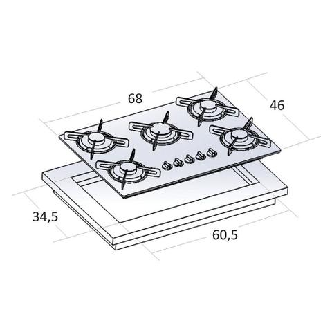Imagem de Kit Forno Elétrico Embutir Coifa Gourmet 90Cm Cooktop Colors Safanelli