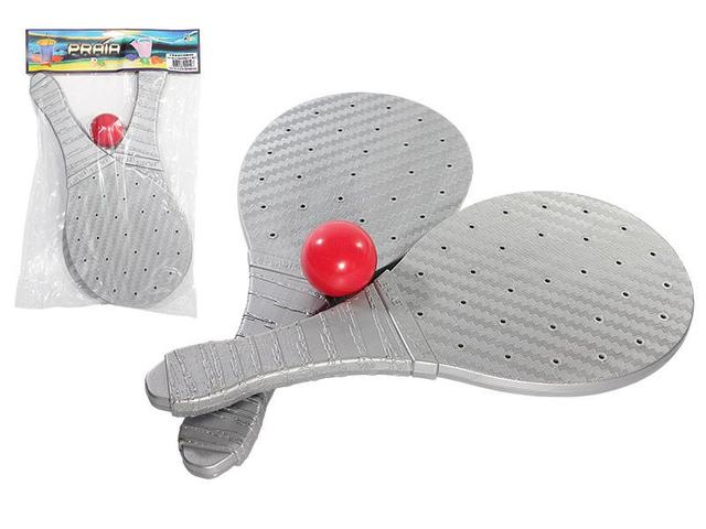 Imagem de Kit frescobol 2 raquetes 1 bola diversão para todas idades