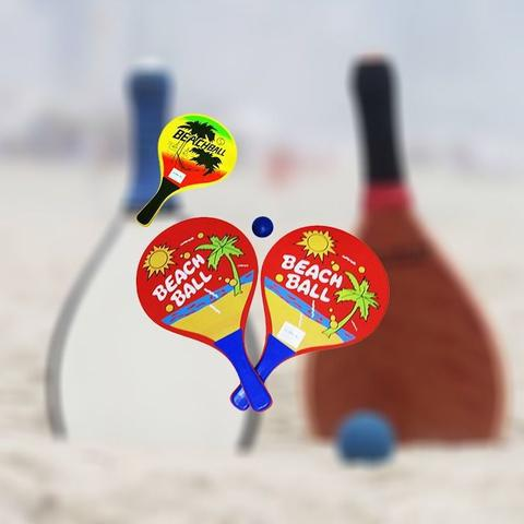 Imagem de Kit Frescobol 2 Raquetes Bolinha Amigos Profissional Verão Praia Jogo