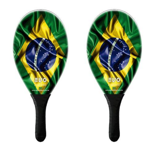 Imagem de Kit Frescobol 2 Raquetes Fibro De Vidro Evo Brasil