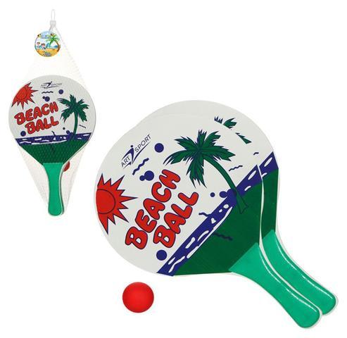 Imagem de Kit Frescobol Colorido 2 raquetes bolinha Infantil