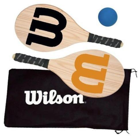 Imagem de Kit Frescobol Logo Wilson 2 Raquetes + 1 Bola Original