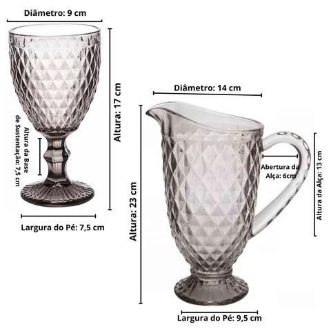 Imagem de Kit fumê jogo de 6 copos bico de abacaxi 300ml + jarra de 1,1l de vidro cristal ecológico