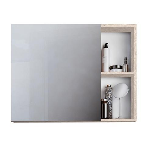 Imagem de Kit Gabinete Para Banheiro Gaam Roma 800 Rovere Tampo Amarelo E Espelho