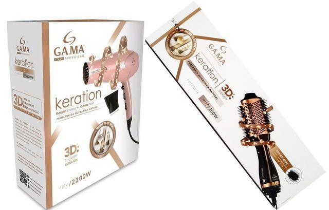Imagem de Kit gama keration 220v - secador 3d pro 2200w + escova stylish brush 3d 1200w