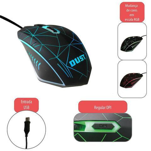 Imagem de KIT GAMER - Acompanha Teclado ABNT, Headphone e mouse com fio - Possuem iluminação com padrões de cores em RGB