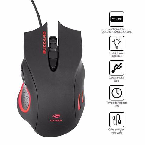 Imagem de Kit Gamer C3 Tech Teclado C/ Macro + Mouse 3200dpi - Preto