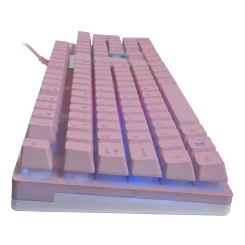 Imagem de KIT GAMER ROSA TECLADO PRISMATIC + mouse Arya + Mousepad