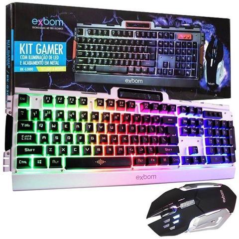 Imagem de Kit gamer teclado e mouse em metal com iluminacao de led semi mecanico profissional para jogos de co