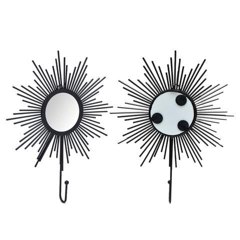 Imagem de Kit Gancho Metalico Com Espelho. Cor Preto - Kit C 2 Gancho