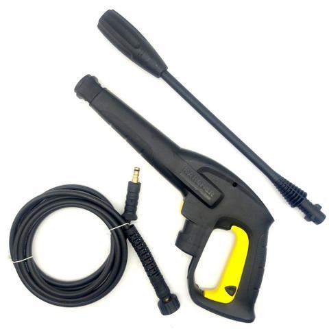 Imagem de Kit Gatilho com Lança Bico Leque e Mangueira Nylon 3M para Lavajato Karcher K2 Portable Black