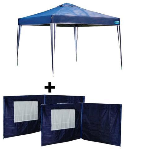 Imagem de Kit Gazebo Tenda Azul 3x3m Dobravel + 4 Paredes em Oxford  Mor