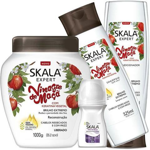 Imagem de Kit Hidratação Skala Vinagre de Maçã Com Keratina Vegetal 1kg + Shampoo e Condicionador 325ml + Desodorante 60ml